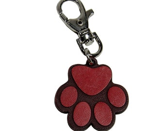 Keyring in real vegetable tanned leather cat's paw-red-Made in Italy