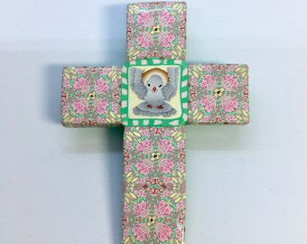 "Polymer Clay 4"" Cross Holy Spirit/ Dove Unique Wall Hanging Cross Christian Art Religious OOAK"