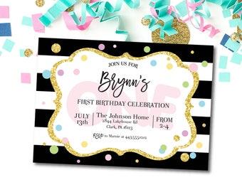 First Birthday Invitation, Girl, First Birthday Invite, Printable, DIY, ONE, Birthday Party Invitation, Confetti, Colorful, Glitter