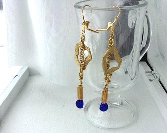 Gold and Blue Earrings, Unique Gold Earrings, nautical colors, Long Earrings,  Gifts for Women