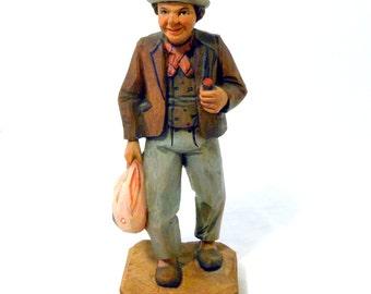 Hand Carved, Folk Art, Hobo, Wooden Figurine, Hobo Bag, Wood Carving, Rustic, Primitive, Vintage, Man Cave, Hobo Days @LootByLouise