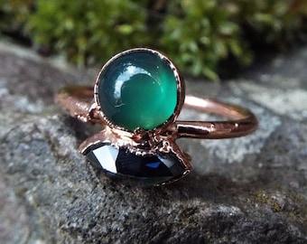Turmalinring, Emeraldring, US 7.25, Verlobungsring, Kupferring, Boho ring, Crystal Ring, Raw Crystal ring, Electroformed, Engagement, Garnet