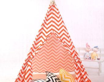 Teepee,orange chevron teepee,kids teepee,teepee tent,playhouse,tipi