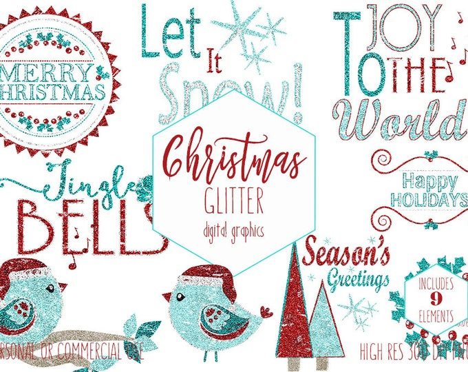 CHRISTMAS CLIPART Commercial Use Red Teal Glitter Holiday Clip Art Christmas Word Art Trees Bird Quotes Holiday Typography Digital Graphics