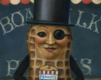 Mr Peanut Portrait, Mr Peanut Print, Retro Food Icon, Vintage, Atlantic City, Boardwalk Art, Anthropomorphic Food Print, Amusement Park,