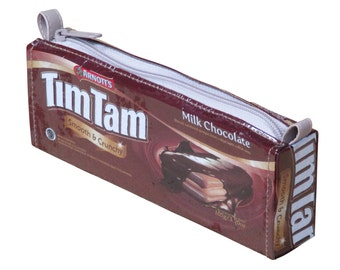 Tim Tam wrapper pencil case, FREE SHIPPING, Pencil pouch, pencil holder, crayon case , zipper pencil case, Upcycled recycled, Back to School