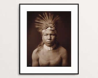 Edward Curtis Print - Native American Art Print - Native American Wall Art - Portrait - Native American Photograph - Free US Shipping