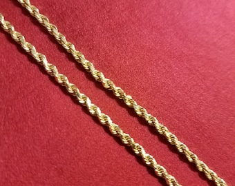 14 kt Solid Yellow Gold Rope Necklace