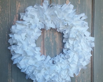 "20"" Rag Wreath (White) - Farmhouse Wreath - Shabby Chic Wreath - Wedding Wreath - Year Round Wreath - Winter Wreath - White Wreath"