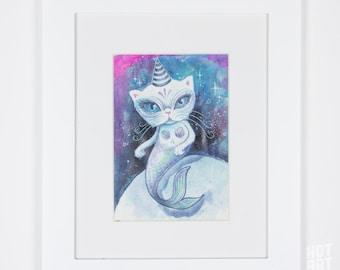The Purrrmaid - mermaid, small original, cat art, framed art, mini art, watercolour painting, original art, one of a kind, art by phresha