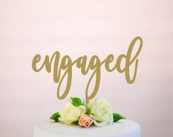 engaged : bridal shower cake topper | wedding cake topper | engagement cake topper