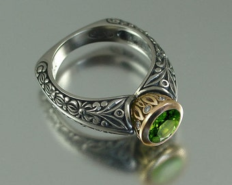 The CROWNED COUNTESS engagement ring  in silver and 14k gold with Green Tourmaline