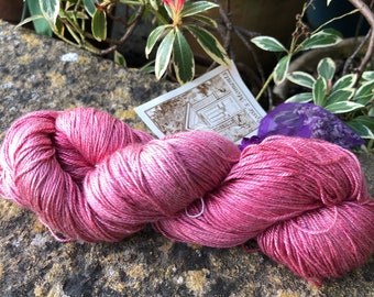 """Fingering weight weight silk/seacell  yarn """"Rose"""""""