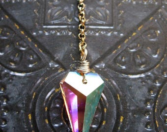 """A/B Crystal Spike and Chain Drop Pendant - 2.25"""" in length"""
