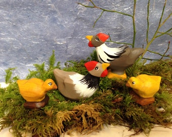 Easter Hens and Chicks hand carved and painted