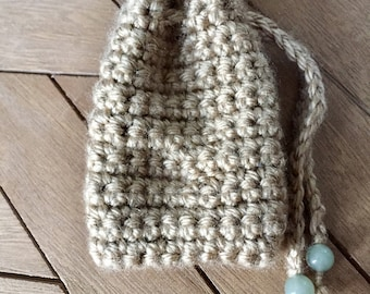 Tan Crochet Coin Purse With Jade Stone Beads