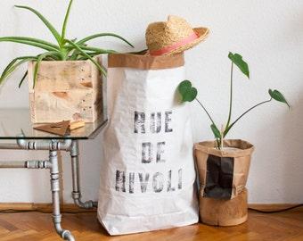 RUE DE RIVOLI Paperbag storage, handmade letterpress design, Sac de rangement, Sac en papier, Paper bag, papiertüte aufbewahrung cadeau gift