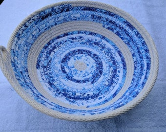 Blue and white Coiled Basket,  Fabric basket, Medium Coil Basket, Storage Basket, Gift Basket, Coiled Rope Basket, catchall