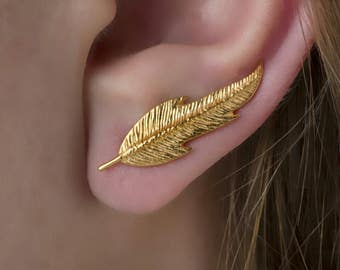 Feather Ear Climber, 925 Sterling Silver , Nature Earrings, Gold Feather Earrings, Nature Jewelry,18k Gold plated , textured earrings