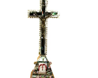 Vintage Jerusalem Stand Crucifix w/ Mother of Pearl, Abalone, Olive Wood Jerusalem Souvenir Cross, 14 stations of Cross,Shell Nativity Scene