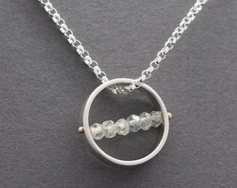 Aquamarine, Sterling Silver Circle Pendant
