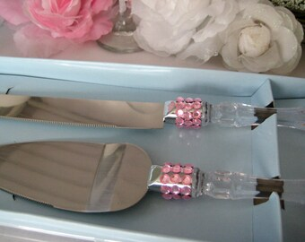 Cake Knife Serving Set with Pink Rhinestones for Sweet 16, Mis Quince Anos, Birthday, Baptism, Wedding, Banquet, Anniversary, Christening