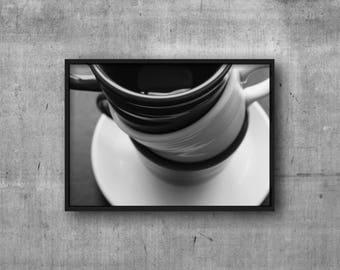 Coffee Photography - Digital Download - Coffee Cup Digital Printable Artwork - Black and White Coffee Kitchen Decor - Coffee Printable