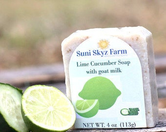 Lime and Cucumber Goat Milk Soap - Lime Goat Milk Soap - Cucumber Goat Milk Soap - Handmade Lime Goat Milk Soap - Natural Cucumber Soap