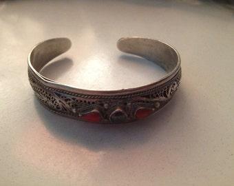 vintage sterling bejeweled cuff bracelet