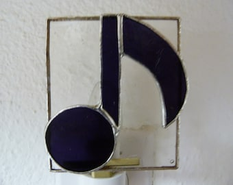 Musical Note Night Light, Purple Clear Stained Glass, Wall Plug In, U L Certified, Teens Musician Kitchen Bedroom Bathroom Music Home Decor