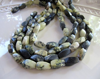 15mm Yellow Turquoise Twisted Tube Beads in Olive Green, Jasper Serpentine Gemstones, Approx 15mm x 8mm, 1 Strand 15 Inches, 24 Pieces
