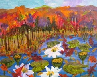 Autumn painting -  Original Art -  20 x 20 inches - Fall Sale
