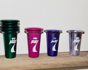 Seagram's 7 aluminum tumblers,multi color cups,set of 9,Made in India,8 oz cups,bar ware,bar cart,whiskey drinkware,green,pink,purple,
