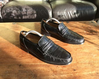 Men's, Rombah Wallace, black leather moccasins, UK Size 7
