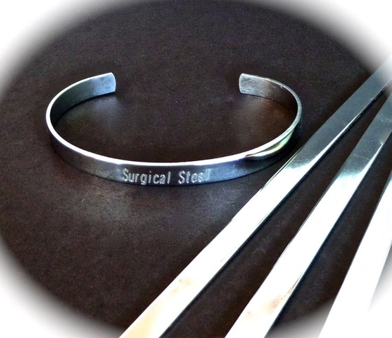 """SLIGHTLY SCRATCHED 10 Surgical Steel Polished 1/4"""" x 6"""" 18 Gauge Bracelet Blank Cuffs Round Corners - 10 Stainless Steel Cuffs - Flat"""