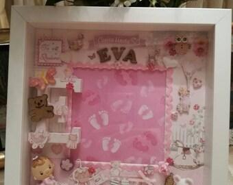 Children's decorated frame//children's decorated box,//personalized children's frame//frame. Scrapp