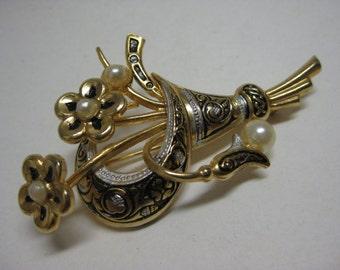 Flower Damascene Brooch Gold Pearl Vintage Pin Bouquet