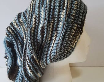 Shades of Blue and Brown Simple Slouchy Hat