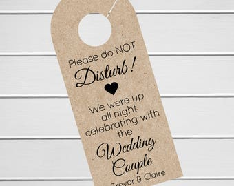 Wedding Door Hanger, Custom Hotel Door Hangers, Destination Wedding Welcome Bag  (DH-056-KR)