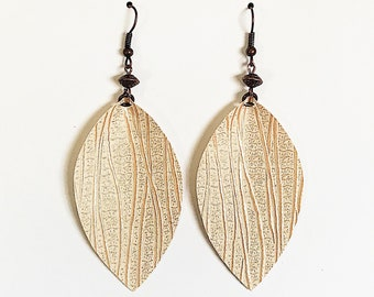Recycled Vinyl Leaf Earrings - Cream