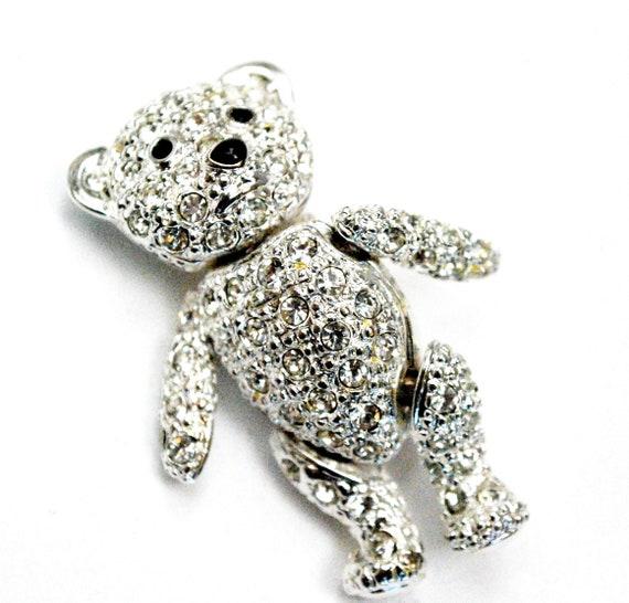 rhinestone teddy bear Brooch  - articulate  - tremble - Moveable legs - clear crystal silver - figurine pin