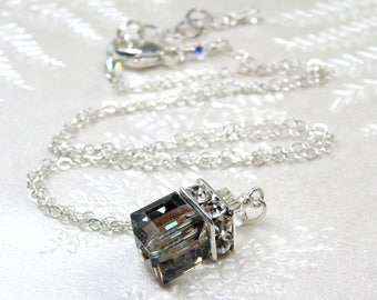 Black Diamond Swarovski Crystal Necklace, Sterling Silver, Cube Pendant, Bridesmaid Gift, Fall Winter Wedding Handmade Jewelry