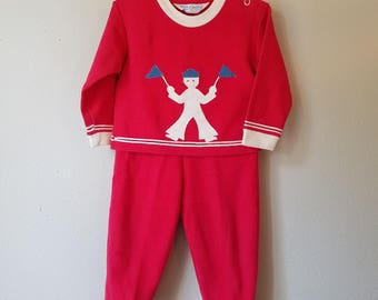 Vintage Baby Boy Red Knit Outfit with Sailor and Blue Flags by Carters - Size 18 months - Gently Worn