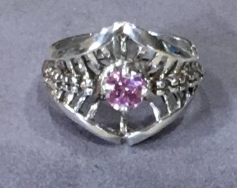 Rose Tourmaline and Sterling Ring