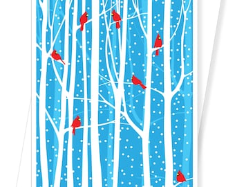 Winter Cardinals - Box of 10 Holiday Christmas Cards