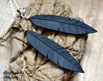 Black necklace Black jewelry Mother gift Feather necklace Feather jewelry Raven necklace Raven jewelry Gothic necklace Gothic jewelry
