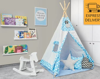 Tipi Set - Kids Play Tent Teepee - Up, Up and Away