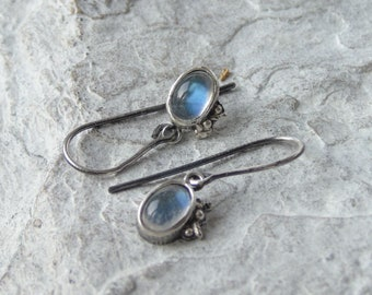 Moonstone Earring, Raw Sterling Silver Earrings, Natural Gemstone Earrings, Artisan Earrings