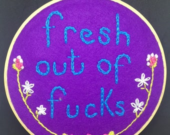 Swear word embroidery