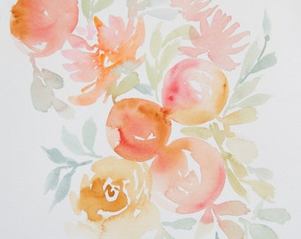 """Peaches and Blossoms Original Watercolor Painting 10""""x14"""""""